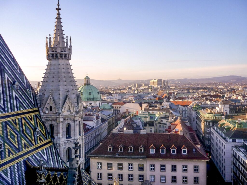 Stock image of the view from St Stephen's Cathedral tower in Vienna of the Vienna skyline.