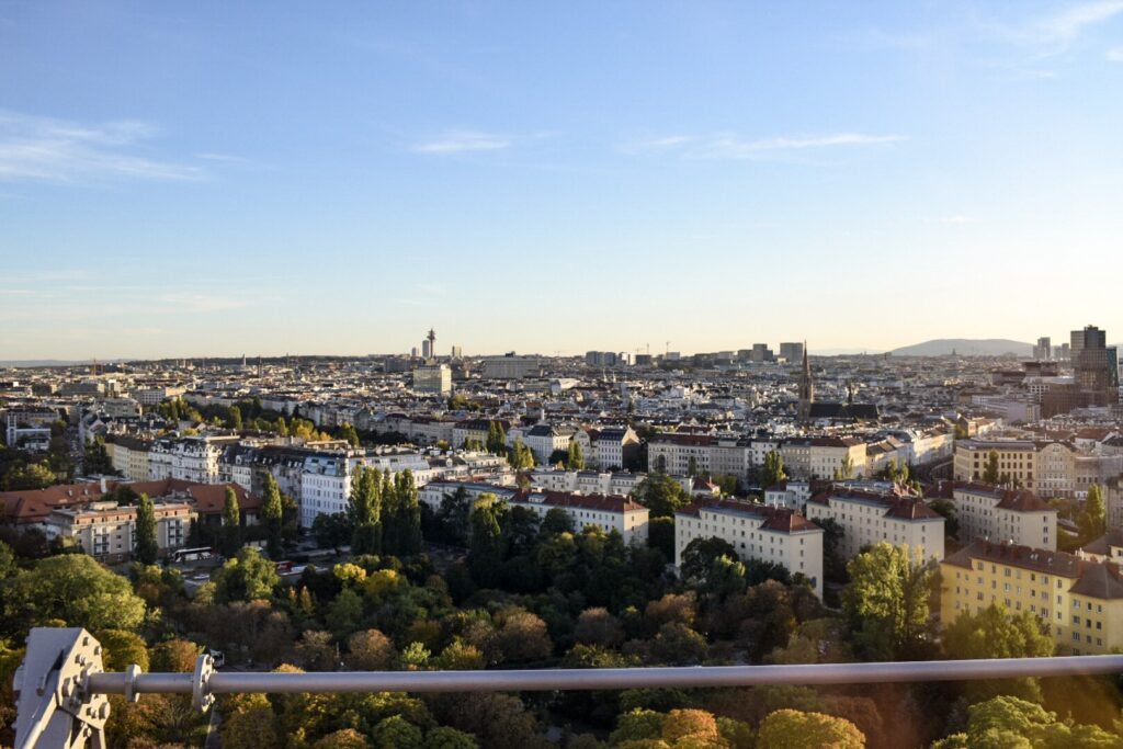 The view of Vienna's skyline from the top of the giant Ferris wheel.