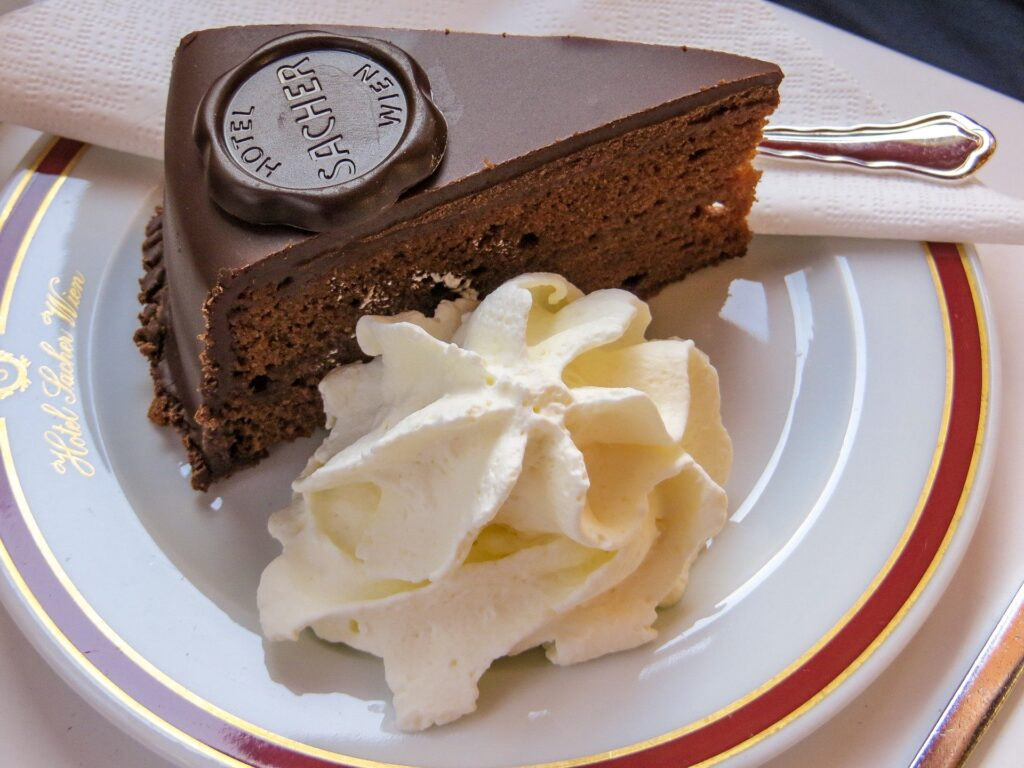 Stock image of Sacher torte, a famous Viennese cake, something you must try if you only have 72 hours in Vienna.
