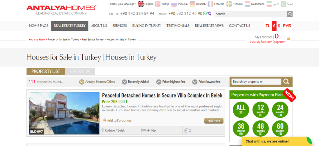 Antalya Homes Website