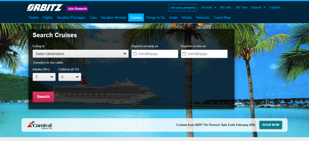 Orbitz - Cruise Booking Site