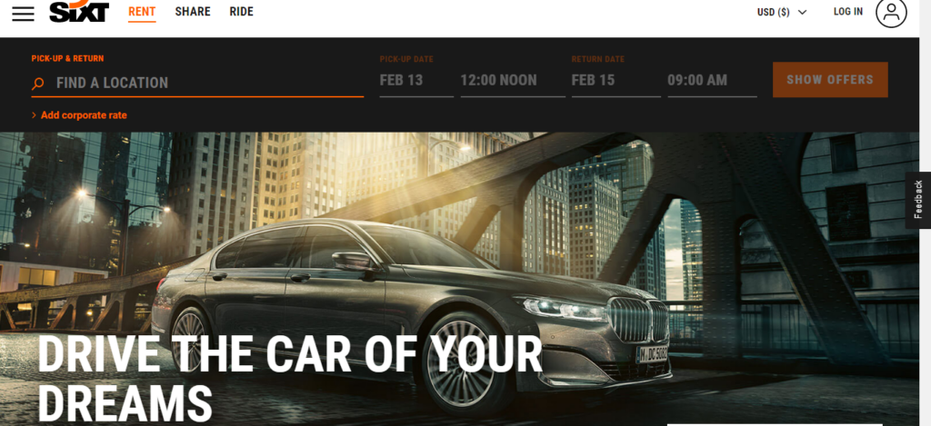 Sixt Rent a Car - Car Rental Site