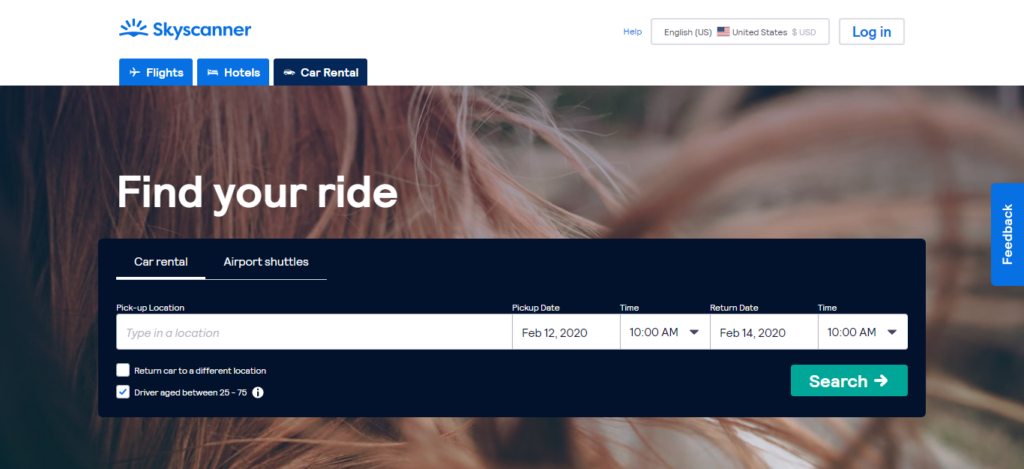 Skyscanner - Car Rental Site
