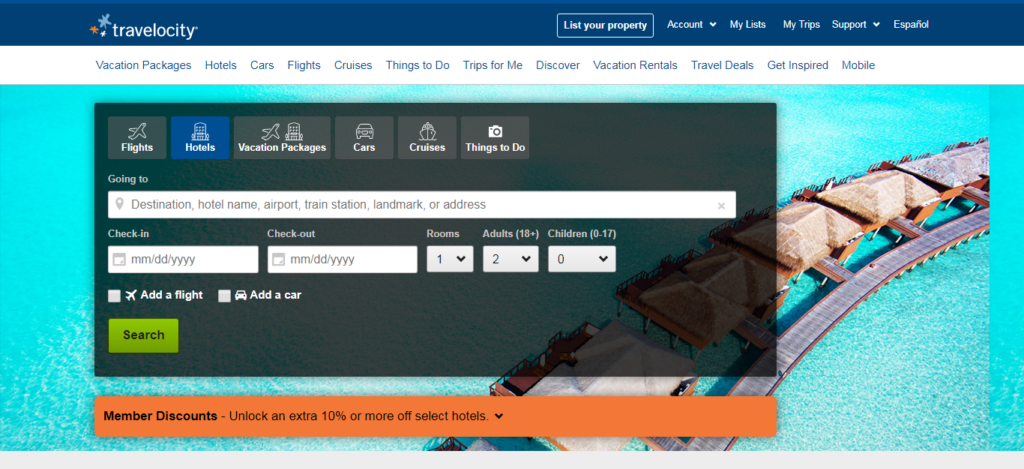 Travelocity- Hotel Booking Website
