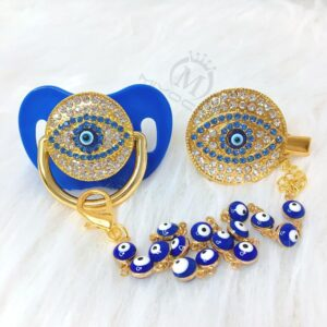 Blue Bling Turkish Evil Eye Pacifier