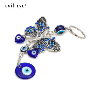 Turkish Evil Eye Butterfly Key Chain Wall Hanging