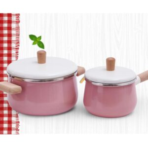 Cookware Hotpot Enamel Wooden Handle