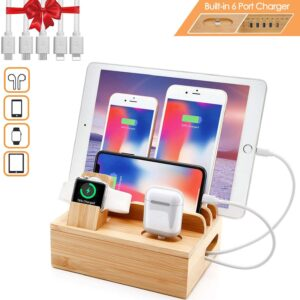 Fast Bamboo Charger Station for Multiple Devices