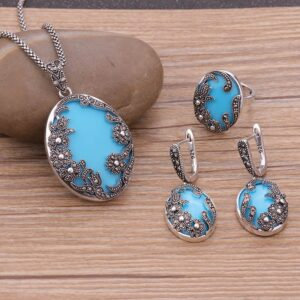 Sellsets Antique Silver Color Flower Jewelry Sets