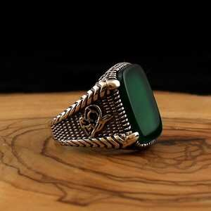 Green Agate Onyx Stone 925 Sterling Silver Ring