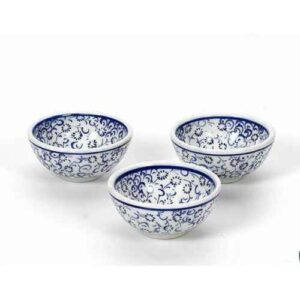 Handmade Turkish Iznik Blue Ceramic Bowl with Velvet Box