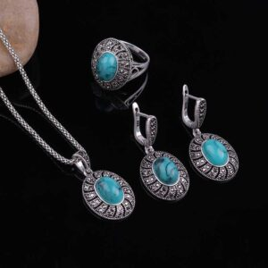 Oval Shape Pendant Necklace Jewelry Sets