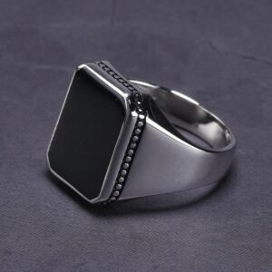 High Polishing Solid 925 Sterling Silver Ring Black Square