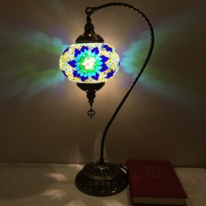 Vintage Turkish Mosaic Swan Table Lamp