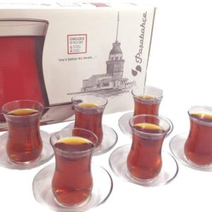 Elegant Turkish Tea Glasses and Saucers Set