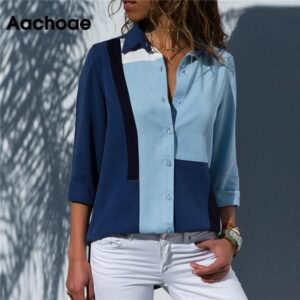 Casual Fashion Long Sleeve Office Shirt Blouse Tops
