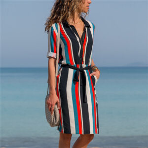 Casual Striped Print Long Sleeve Shirt Beach Party Dresses