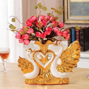 Gold-plated Swan Ceramic Vase TV Table Figurines