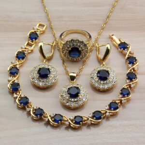 Blue Cubic Zirconia Yellow Gold Color Jewelry Sets