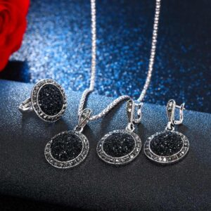 Crystal Round Jewelry Charm Necklace Earrings