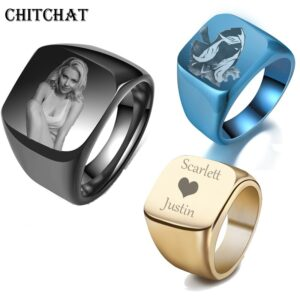 Customized Engrave Name Photo Engagement Rings