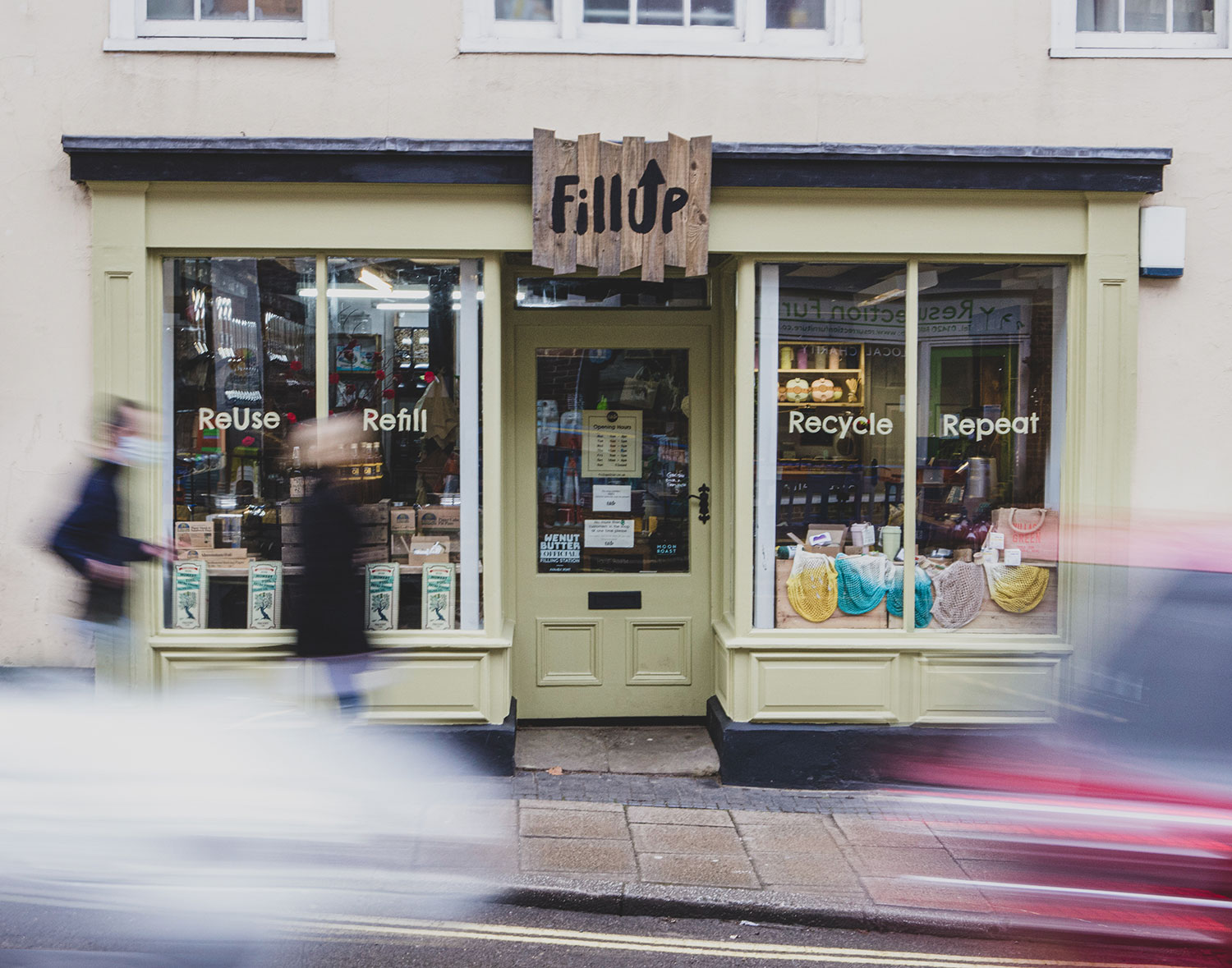 FillUp Shop front. Reuse, Refill, Recycle, Repeat