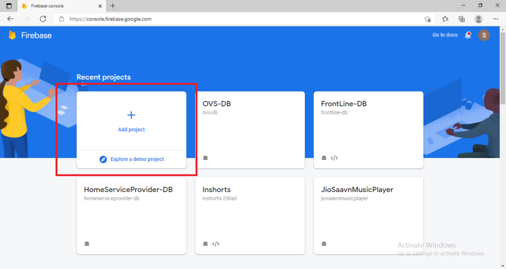 click on add project in firebase console