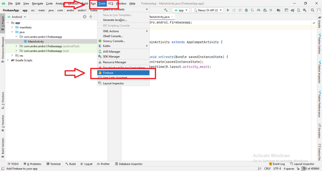 click on firebase from tools menu option in android studio