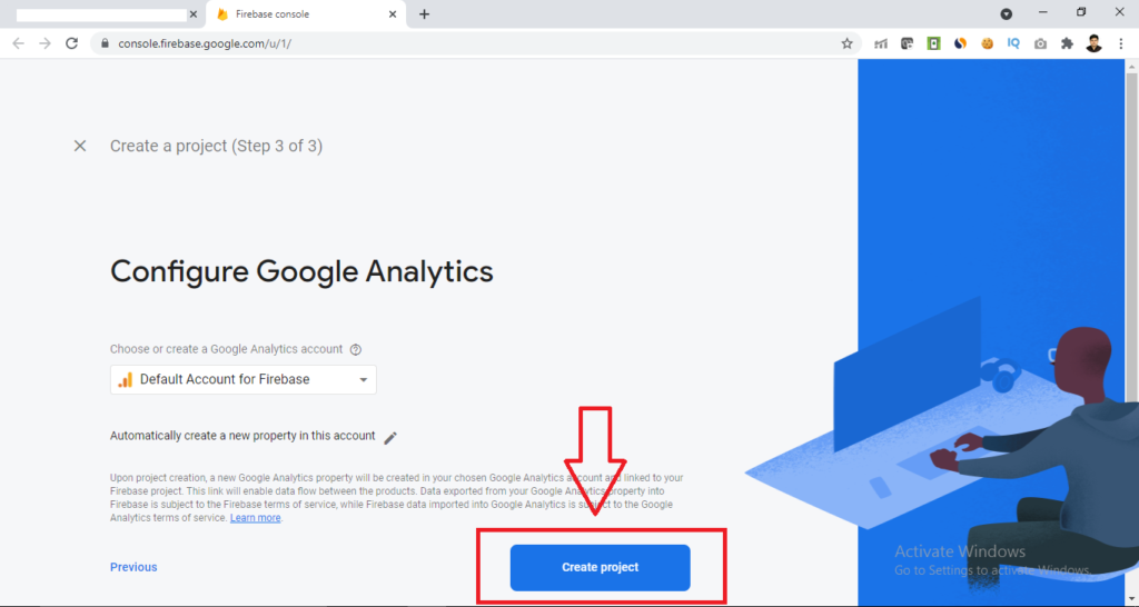 click on create project button in firebase