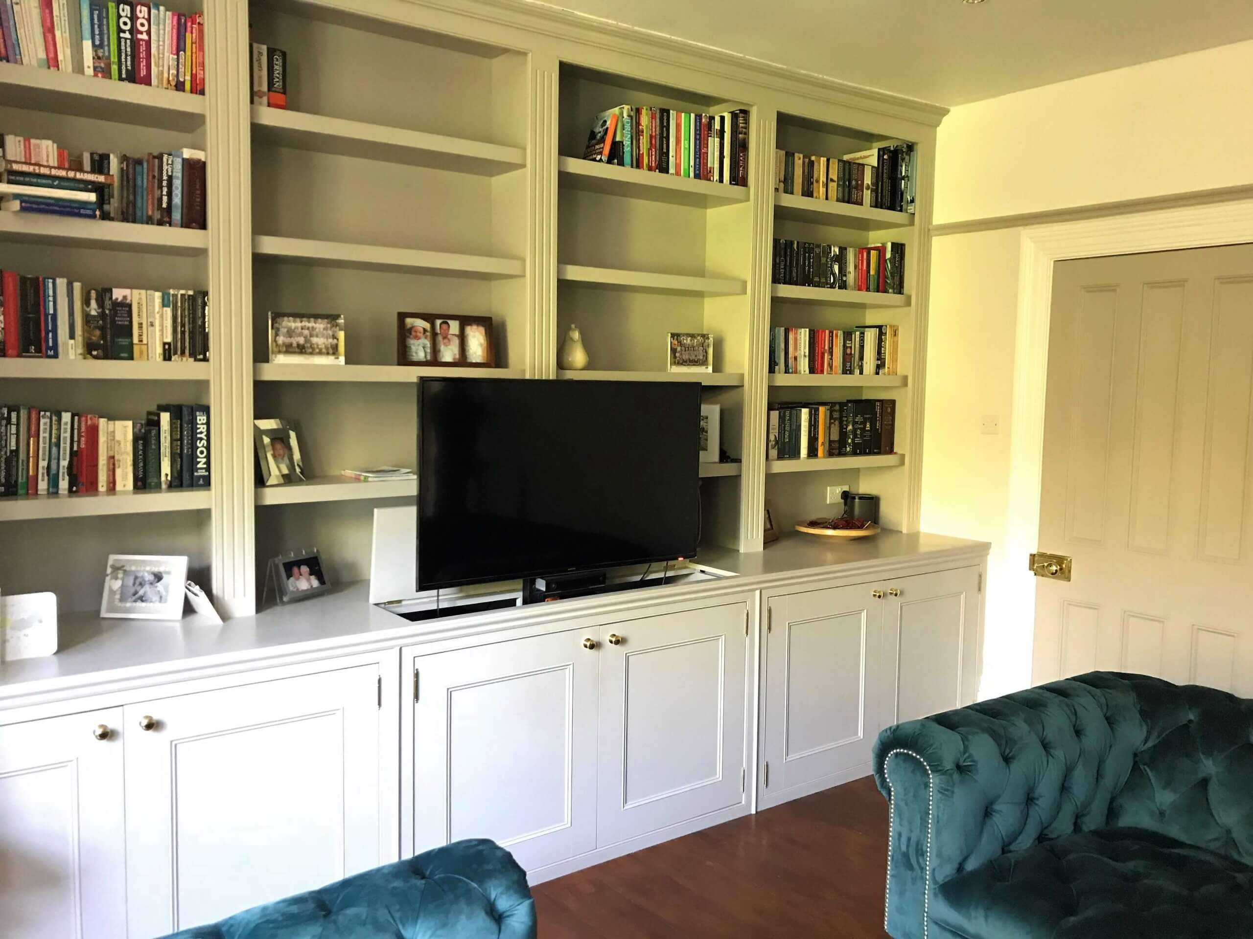 Bespoke Fitted furniture, Storage, Shelves, Fitted Shelf's, Library, Bookcase, Bespoke Bookcase, Leamington Spa, Warwick, Elegant Bespoke living, Joinery, Carpentry, Pop up TV, TV room, Lounge