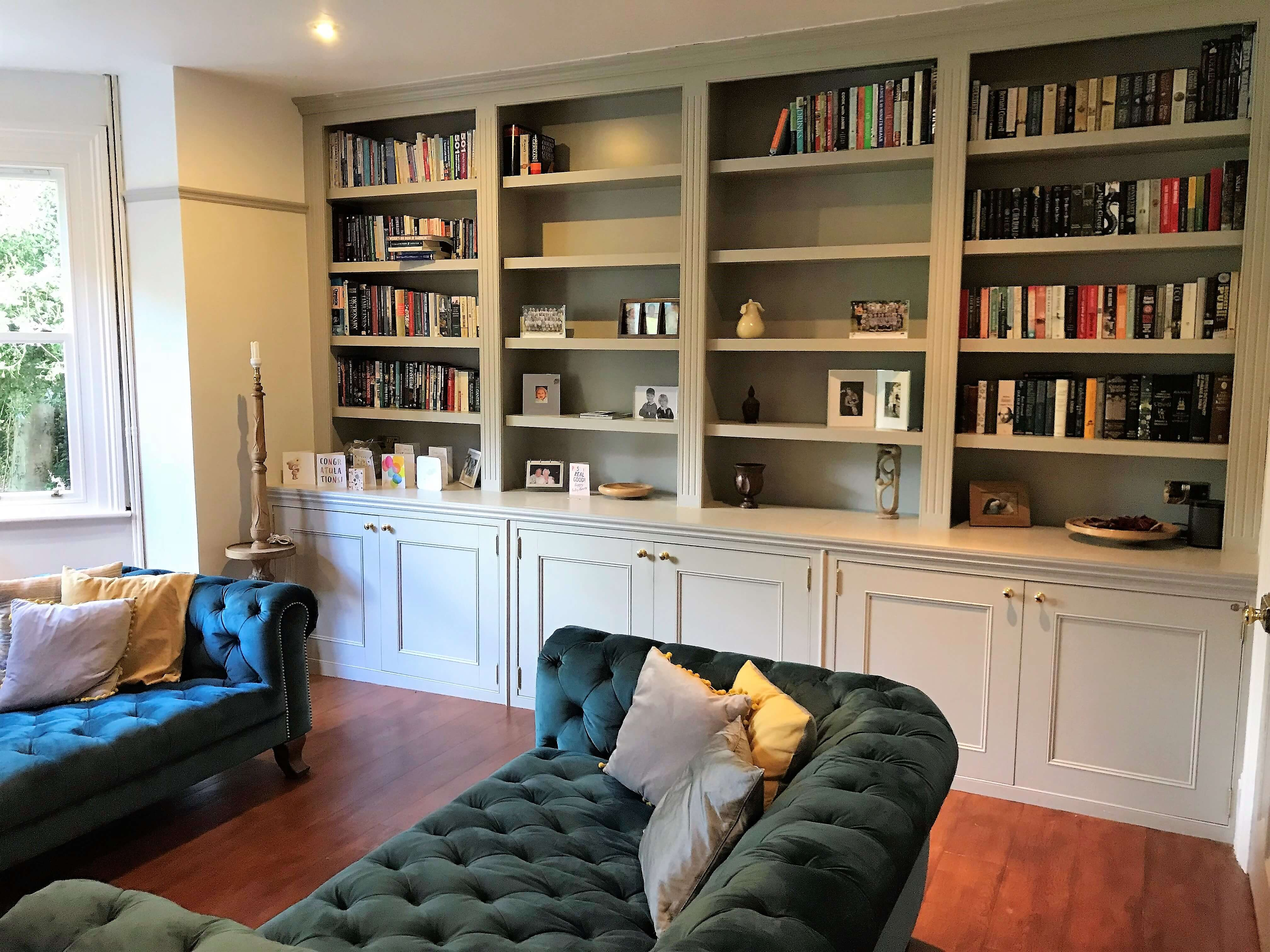 Bespoke bookcase, Fitted Furniture, Elegant Bespoke Living, Bookcase, Victorian House, Lounge, Carpentry, Joinery, Leamington Spa, Warwick, Shelves, Shelf, Storage