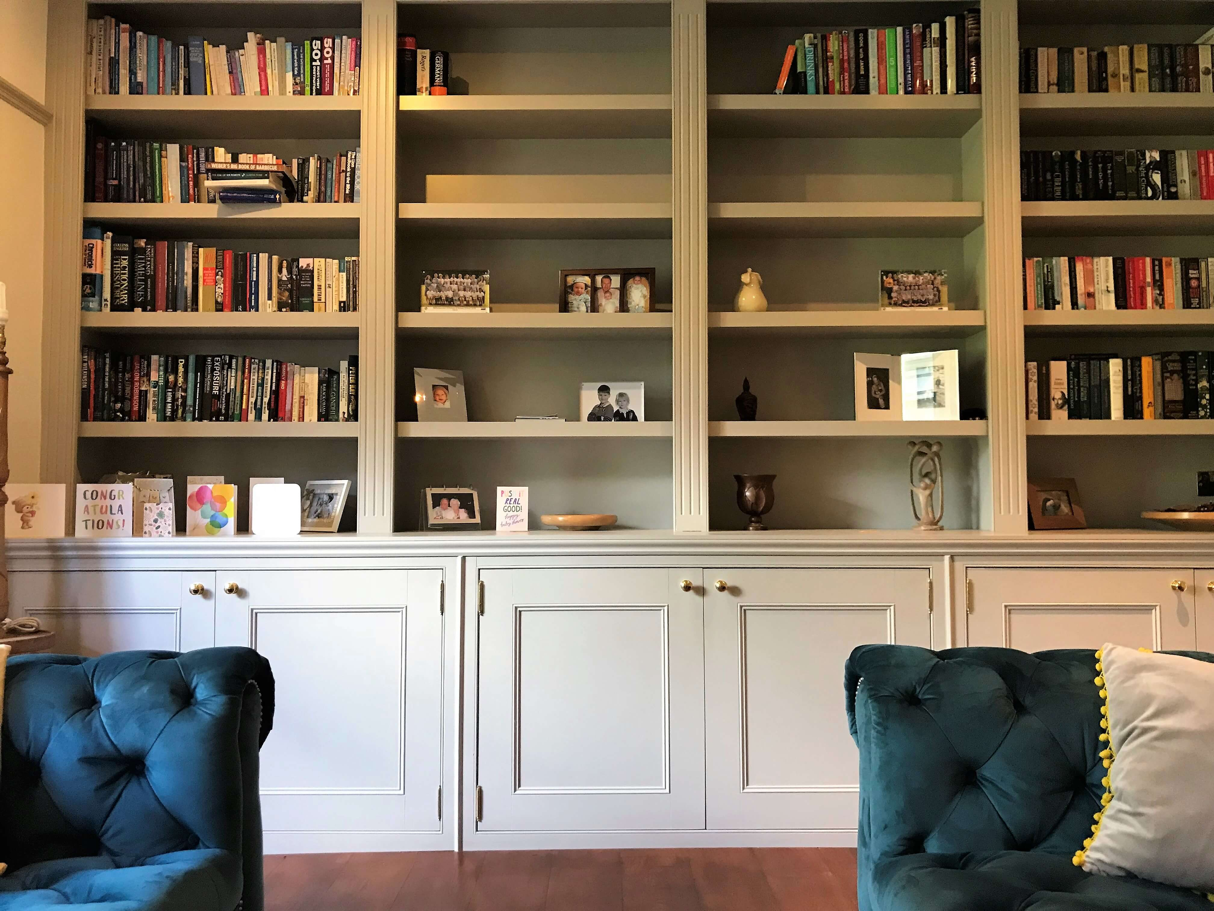 Bespoke Bookcase, Elegant Bespoke Living, Carpentry, Joinery, Leamington Spa, Warwick, Fitted storage, Fitted Furniture, Shelf's, Shelves, Fitted Shelf's
