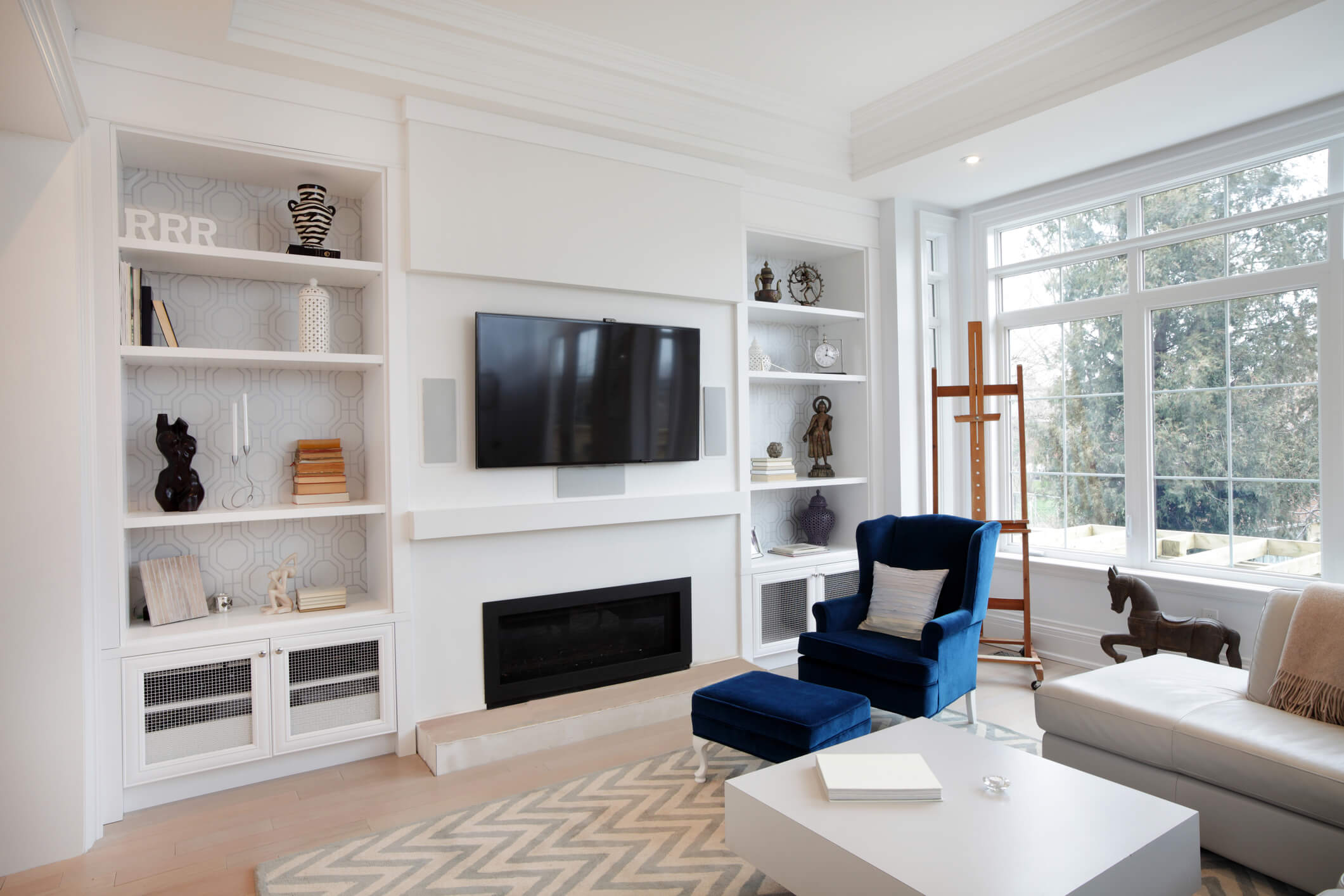 Luxurious Living Room, Fitted Shelves, Fitted Storage, Lounge Furniture, Elegant Bespoke Living