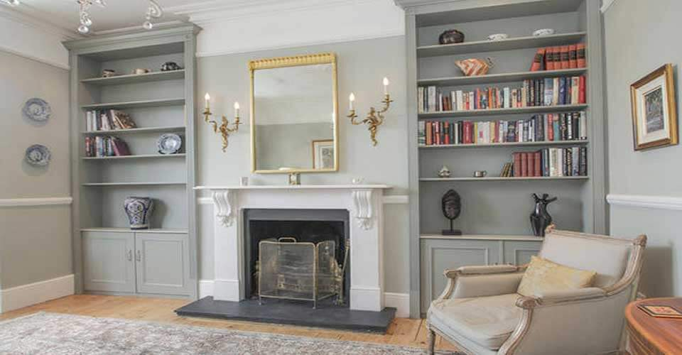 Living room, Fitted shelves, Bespoke units, storage, elegant bespoke living, Leamington Spa, Joinery