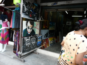 Market shopping in Chaweng. From $6 authentic looking surfie t-shirts to pop art.
