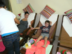 Getting a massage with my little man after dinner one night (we both had full leg massages, bliss)