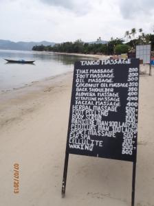Typical pricelist at a beachfront massage (when we went NZ$1 = 24 Thai Baht