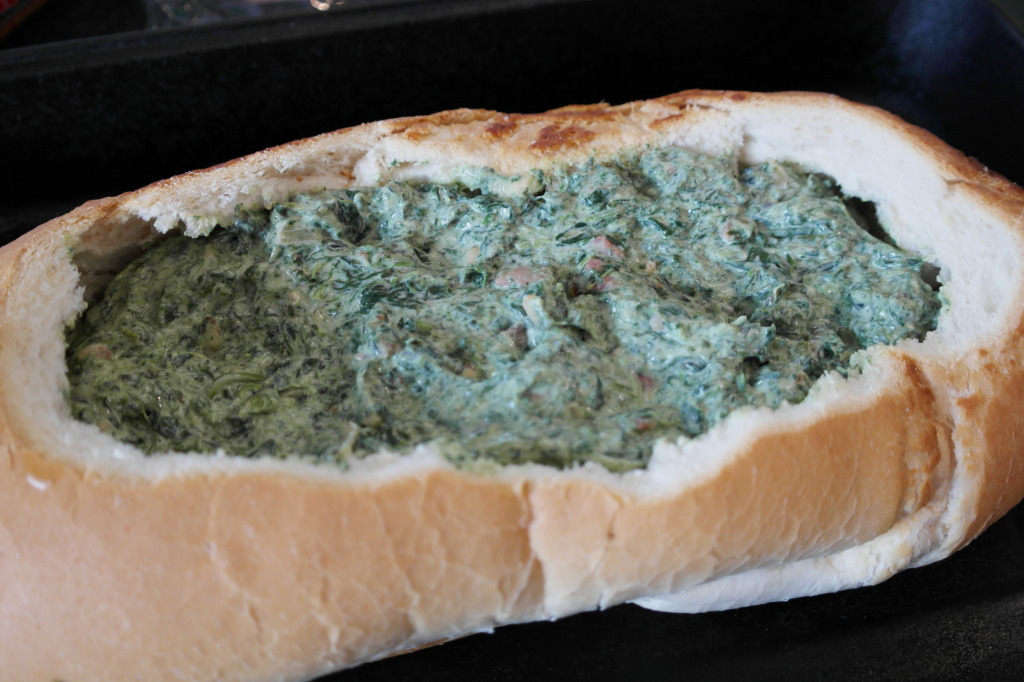 Load the cobb loaf up with the spinach mixture...