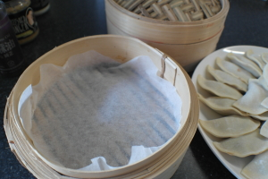 Line the steamer with baking paper (I do two layers - speeds up the cooking process)