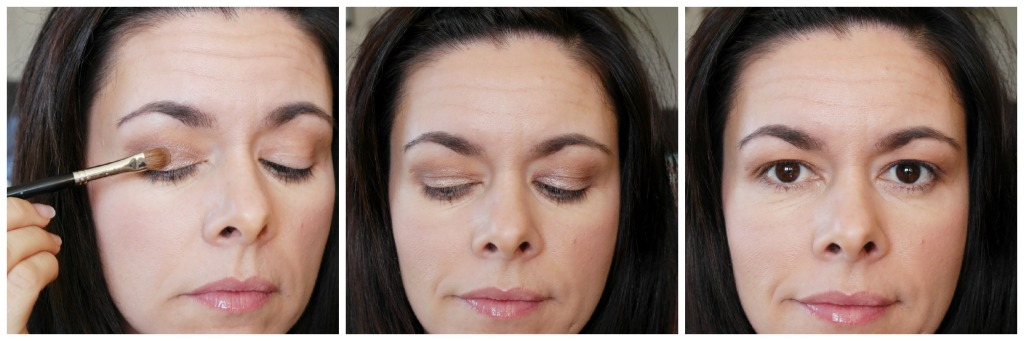 Apply the frost taupe colour all over your eyelid using a flat stiff brush