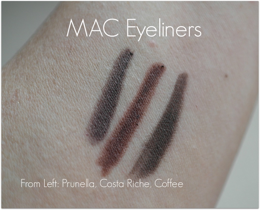 Mac eyeliners prunella, costa riche, coffee