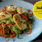 Zoodles with avo pesto cream and haloumi