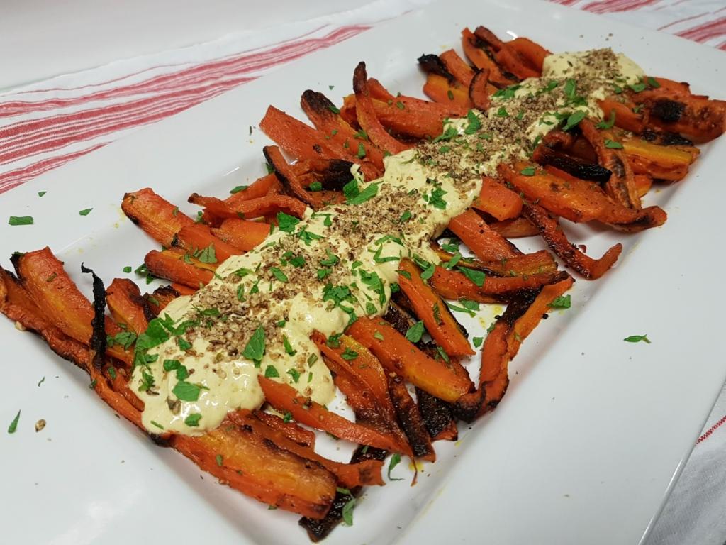 Roast Carrot Salad Spiced Yogurt Dip dukkah