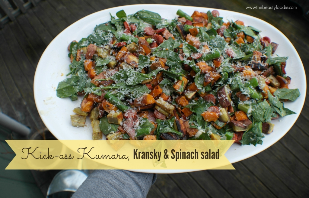 Kick Ass Kumara, Kransky and Spinach Salad
