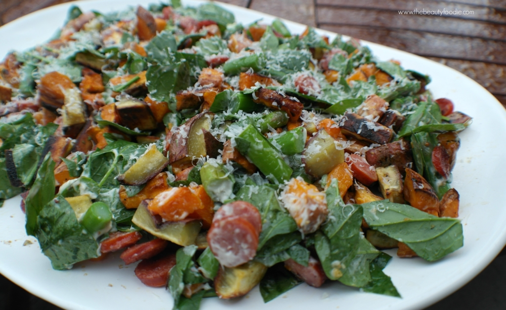 Kick-ass Kumara, Kransky and Spinach Salad