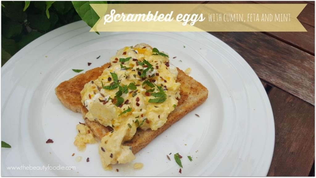 scrambled eggs with cumin feta and mint