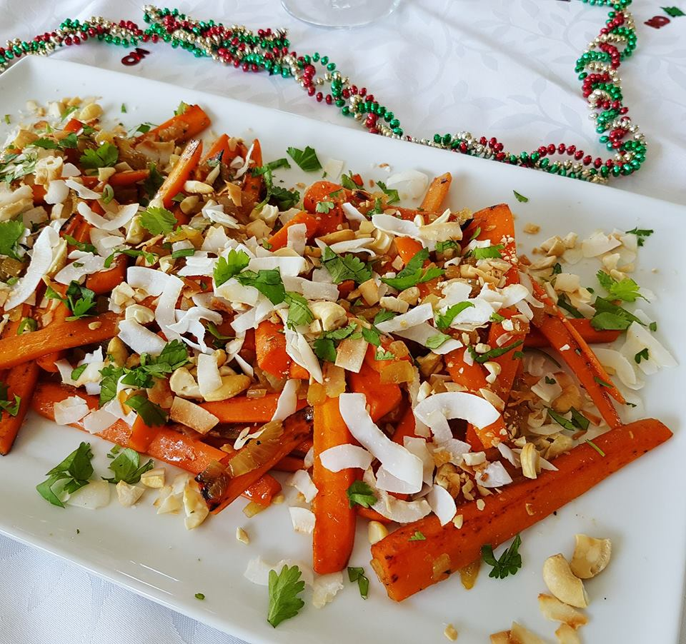 carrot salad with toasted coconut and cashew