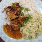 Tandoori Chicken with Mango Raita and Coconut Rice