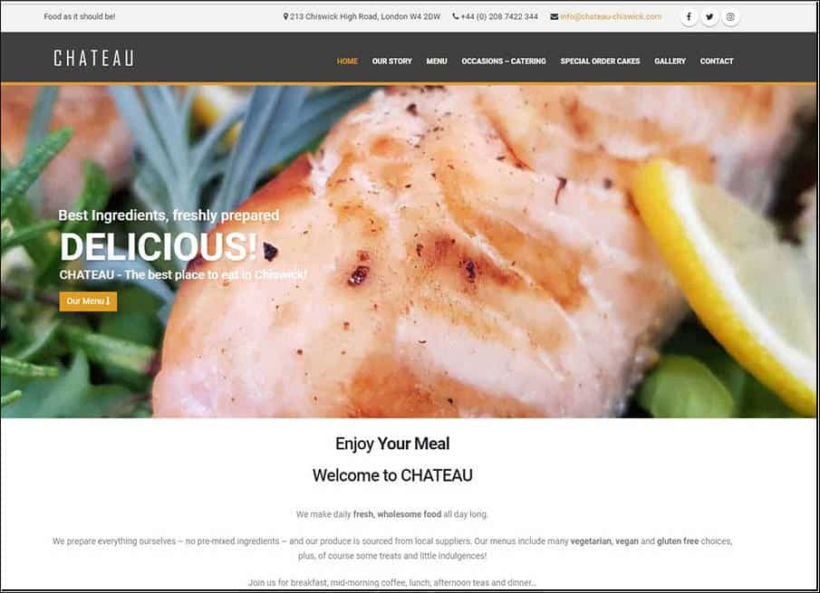 Chateau Chiswick Restuarant website designed and developed by Corporates Online