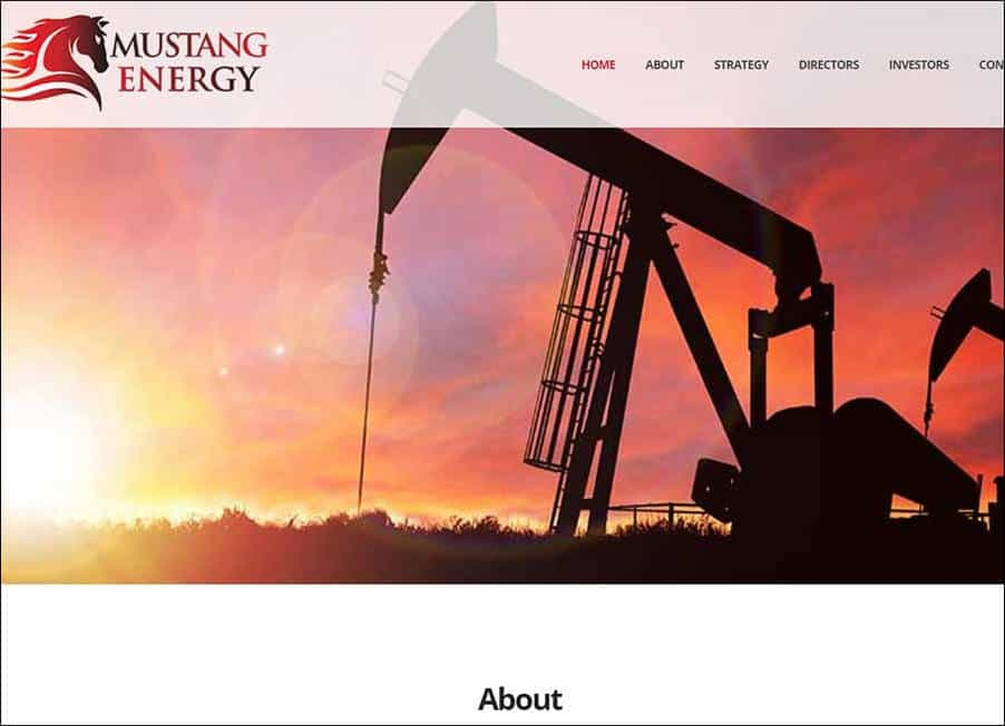 Mustang Energy plc website designed and developed by Corporates Online
